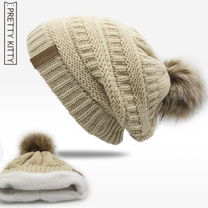 a16a54fa56c  13.2 - Awesome 2017 hot Double layer fur ball cap pom poms winter hat for  women girls hat knitted beanies cap thick female cap - Buy it Now!