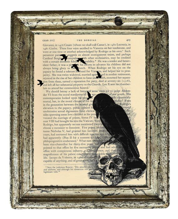 Art print on antique dictionary book page raven skull Edgar Allan Poe quote