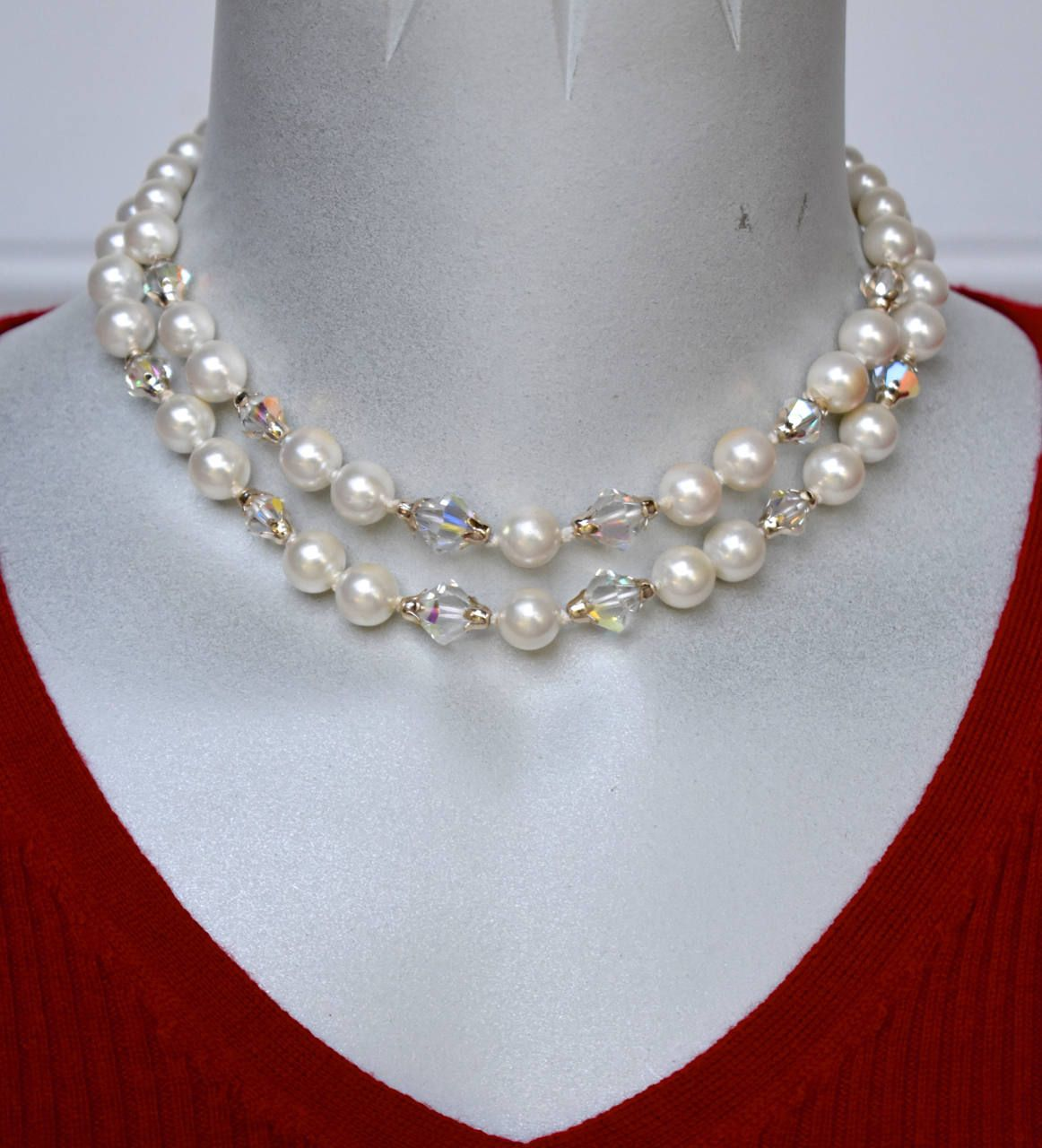 On Sale Collectible Bling Small Bead Faux Pearl  Beaded Necklace 15 inch with Gold Toned Clasp