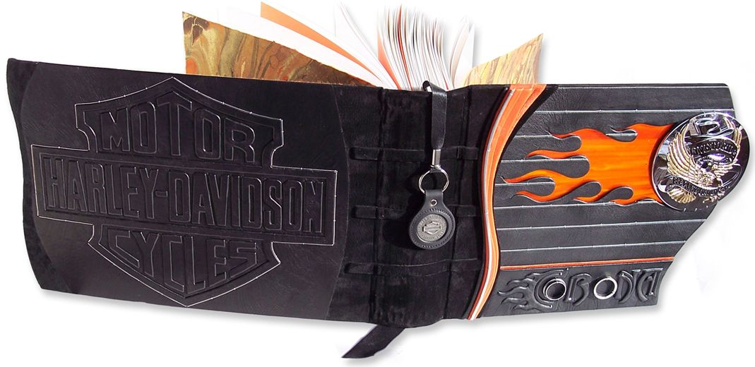 The Interior Of The Custom Leather Harley Davidson Scrapbook Album