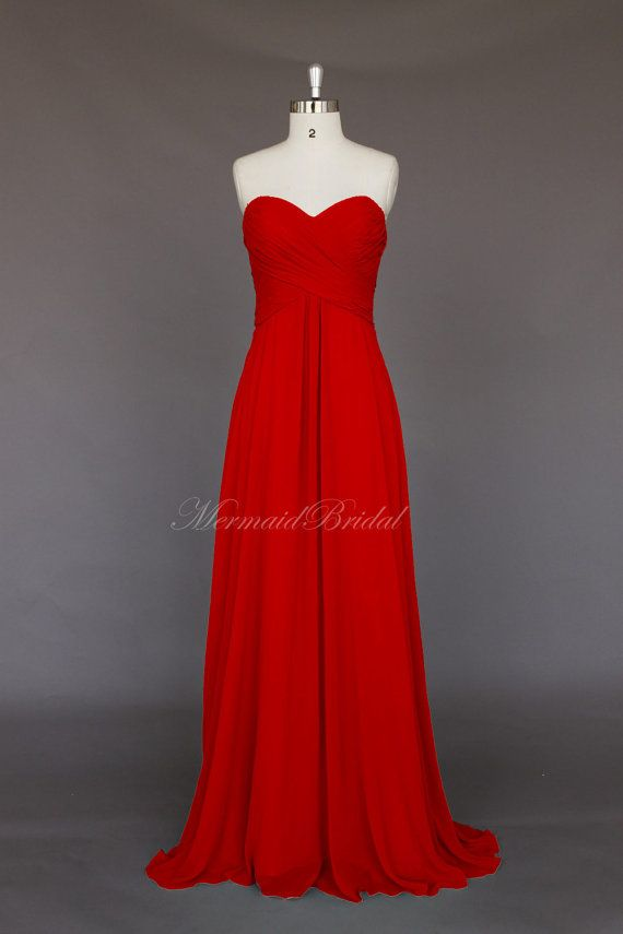 Just another possible look. Red Simple style Chiffon Long Bridesmaid Dress by MermaidBridal, $129.99
