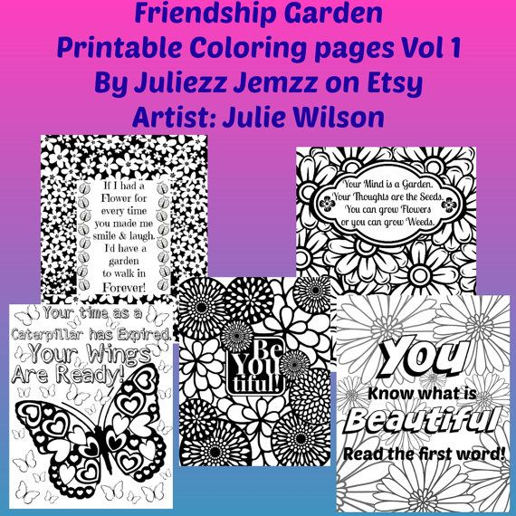 Friendship Garden Vol 1 Printable Coloring Pages by