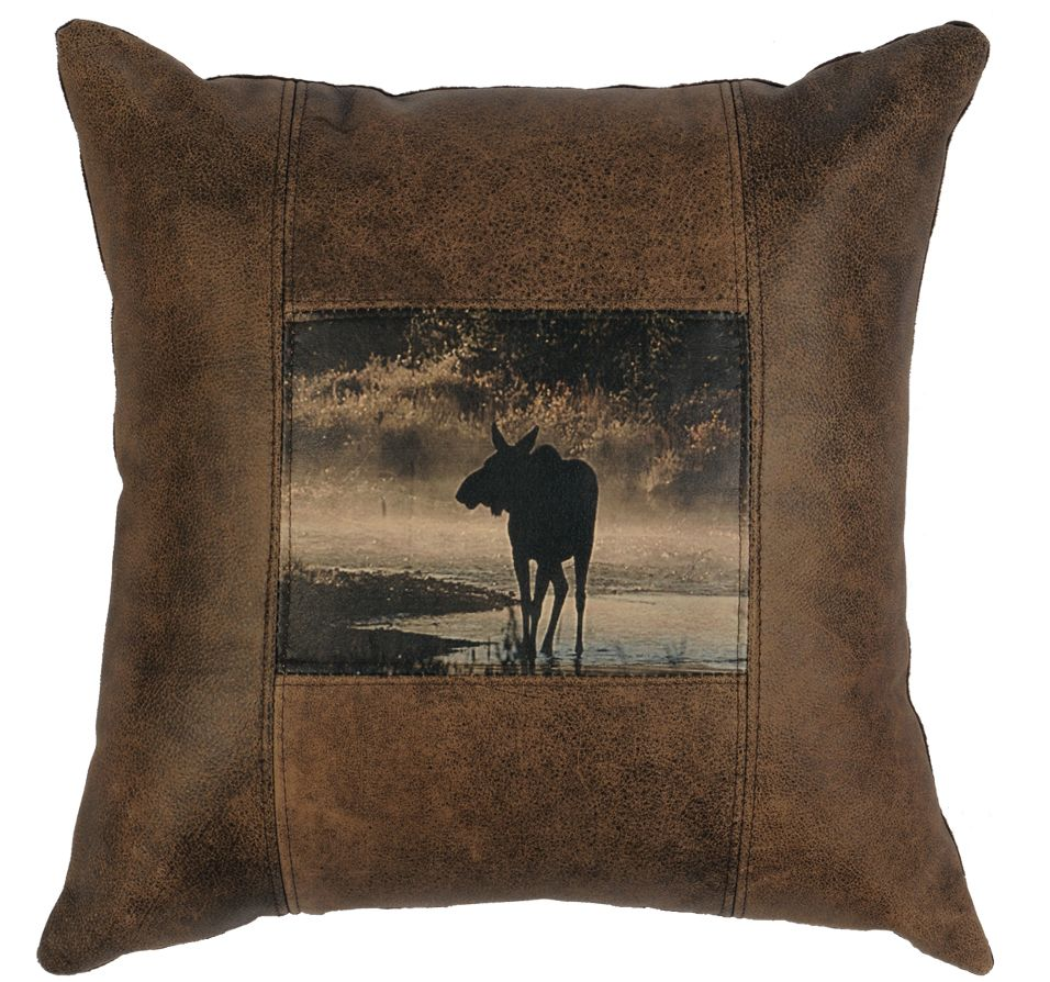 Modern Moose Pillow : Rustic leather pillow with moose Decorative Leather Pillows Pinterest Leather pillow ...