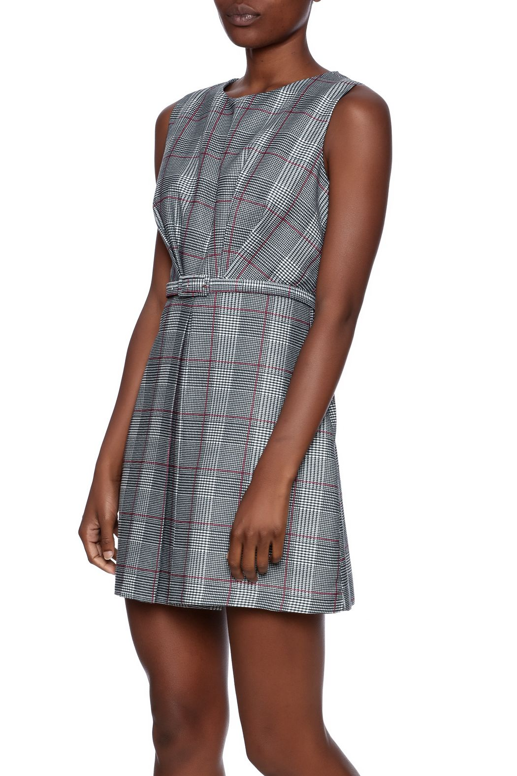 Plaid printed fit an flare dress withpleating, back zipper closure and adjustable waist belt.    One size fits sizes xsmall through small.   Perfectly Pleated Dress by Pinkyotto. Clothing - Dresses - Work Clothing - Dresses - Printed Nolita, Manhattan, New York City Boston, Massachusetts