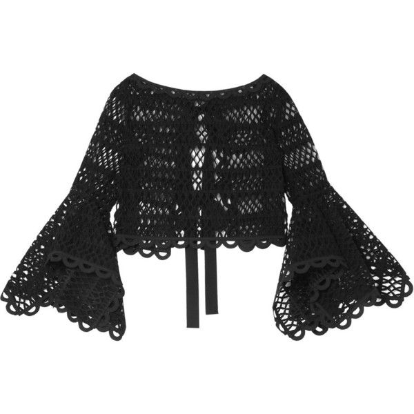 Caraco Bow-embellished Cotton-blend Guipure Lace And Tulle Top - Black Oscar De La Renta Many Kinds Of  Outlet Buy Sale Clearance 2018 Discount Low Price wcZl6ul3kp