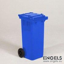 2-wiel container, 480x550x940 mm, 120 ltr, met deksel, blauw