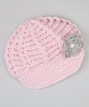 Take a look at this Light Pink Crocheted Flower Newsboy Cap by Marili Jean on #zulily today!