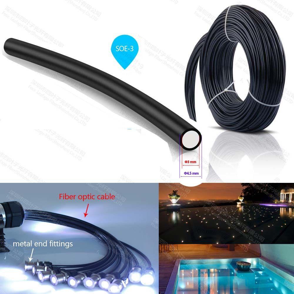 100m Roll Sale 3mm Plastic Black Jacket End Glow Lighting Decorative Pmma Fiber Optic Cable For