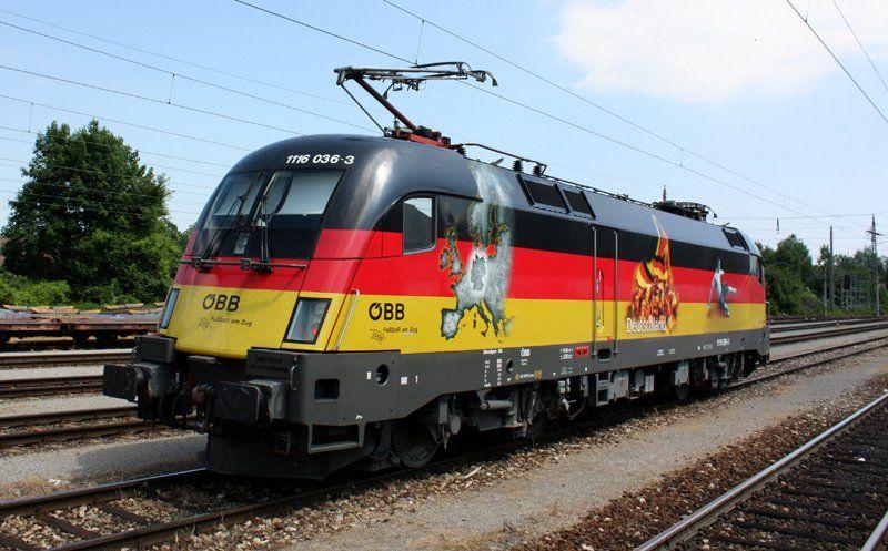 Br 182 Obb Euro 2008 Deutschland Eisenbahn Lokomotive Verkehrsmittel