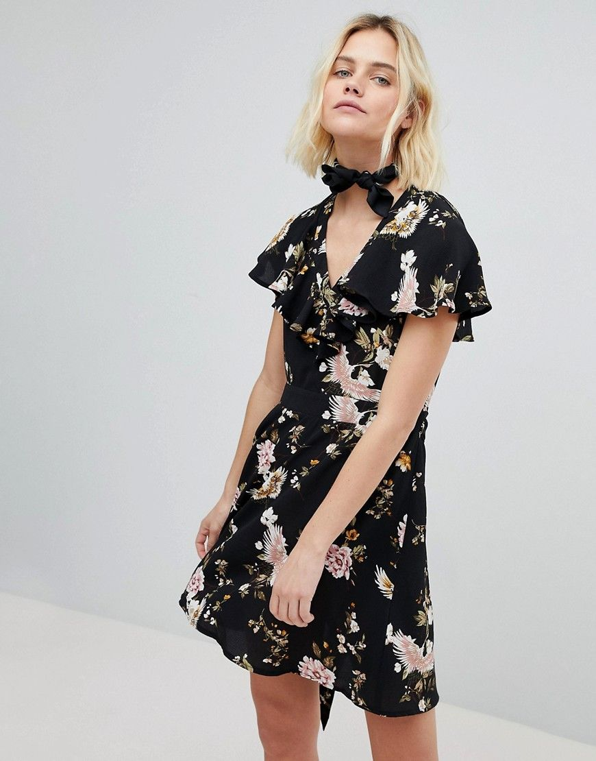 New look floral ruffle tea dress black clothes near me