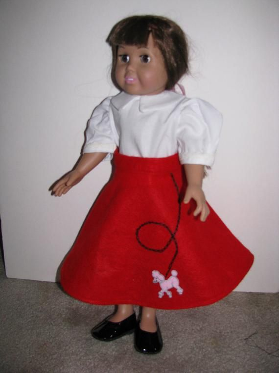 Poodle Skirt Rock and Roll Fifties outfit - American Girl Style - Handmade