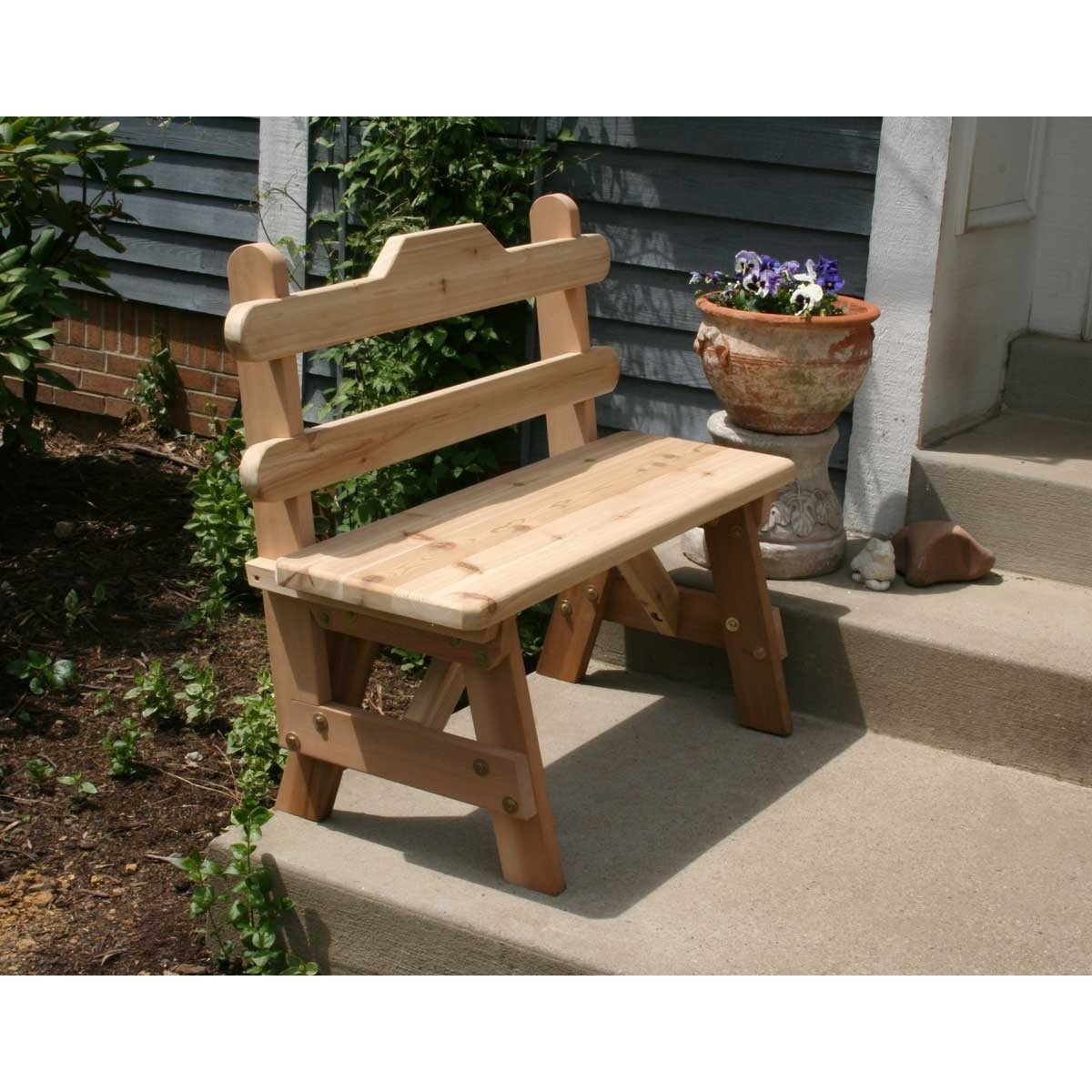 Creekvine Designs Cedar Tab Back Bench Patio table