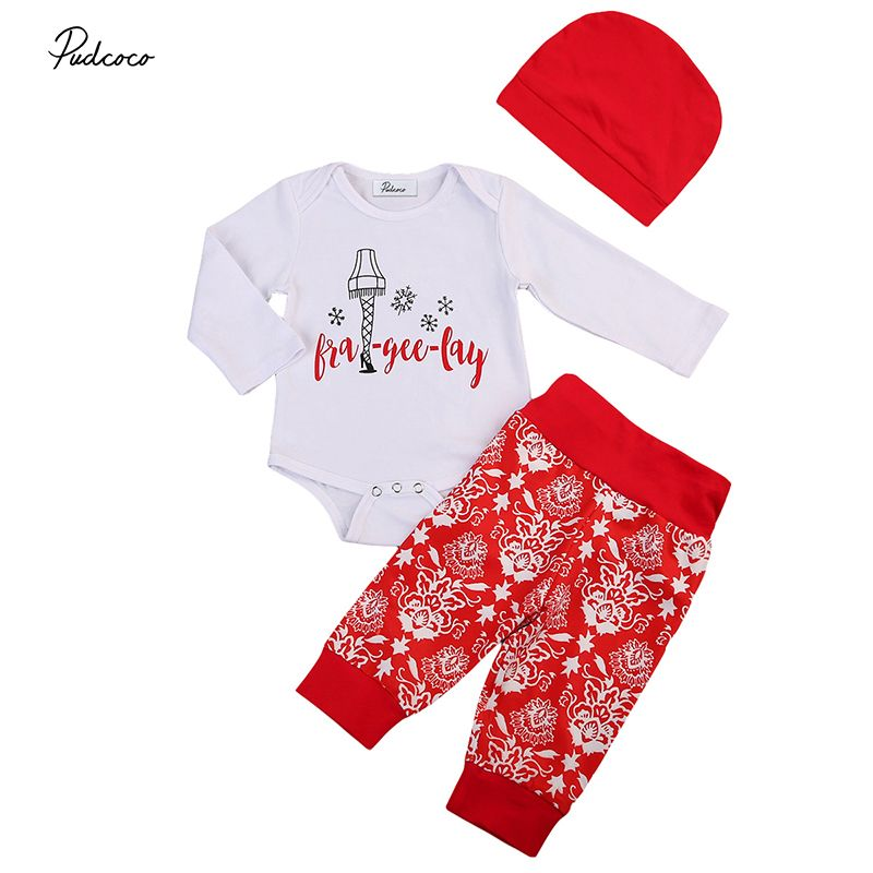 Cotton Newborn Baby Girls Boys Tops Romper+Long Pants Outfits Set XMAS Clothes