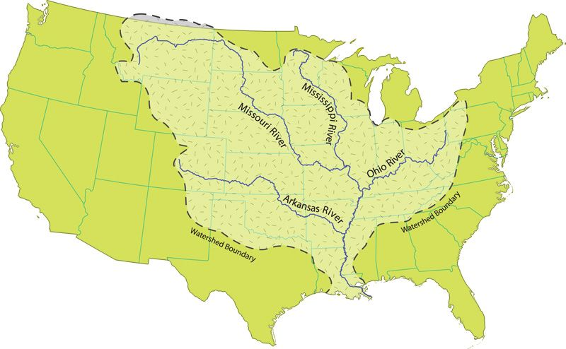 united states map mississippi river Mississippi River Watershed Map Mississippi River Wikipedia united states map mississippi river