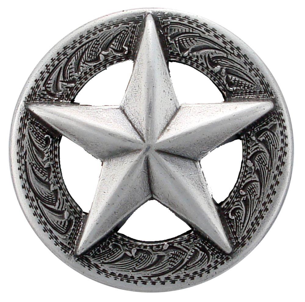 Western Decor 1-1//8 inch Silver Star Engraved Concho