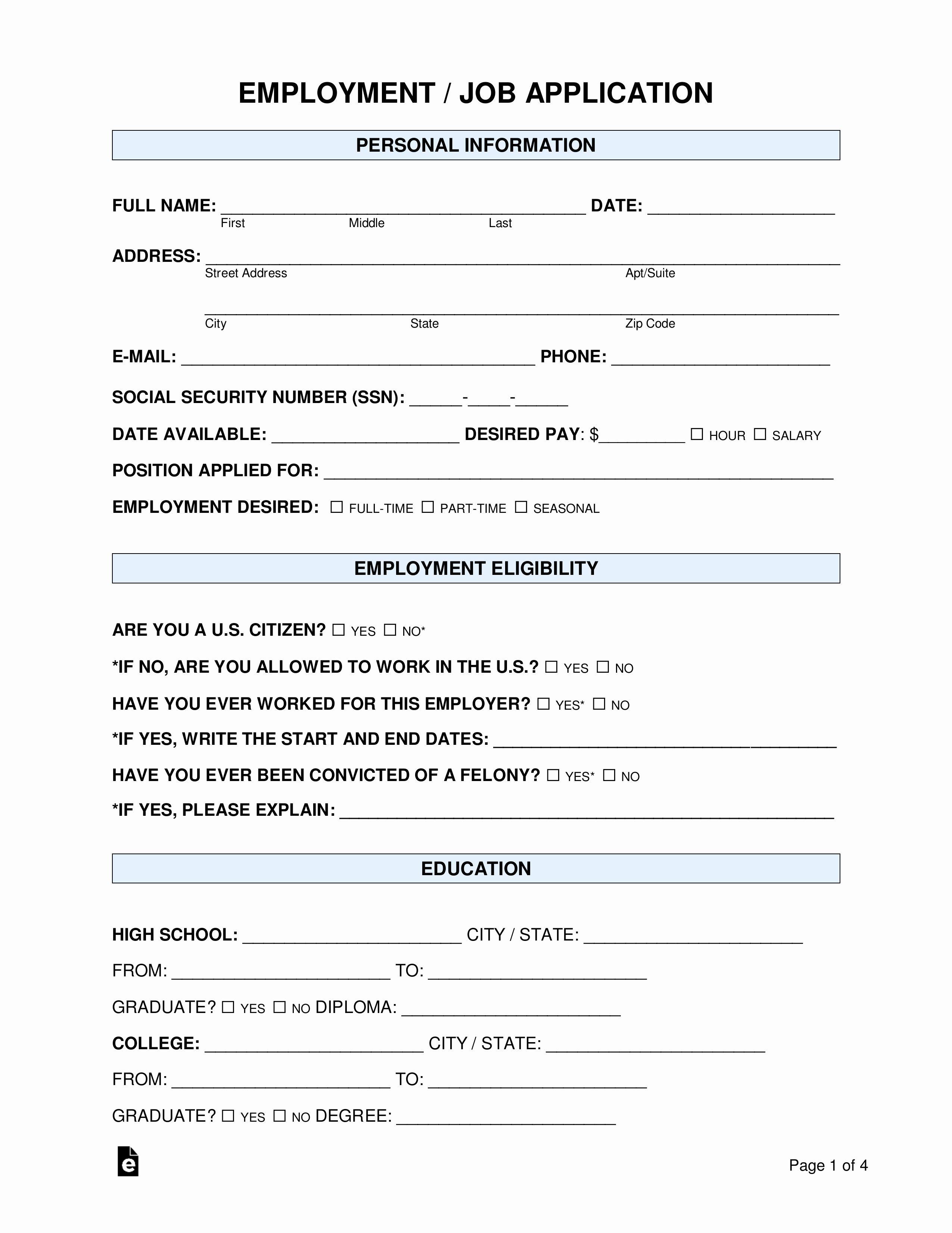 Jobs Application form Pdf Fresh Free Job Application form
