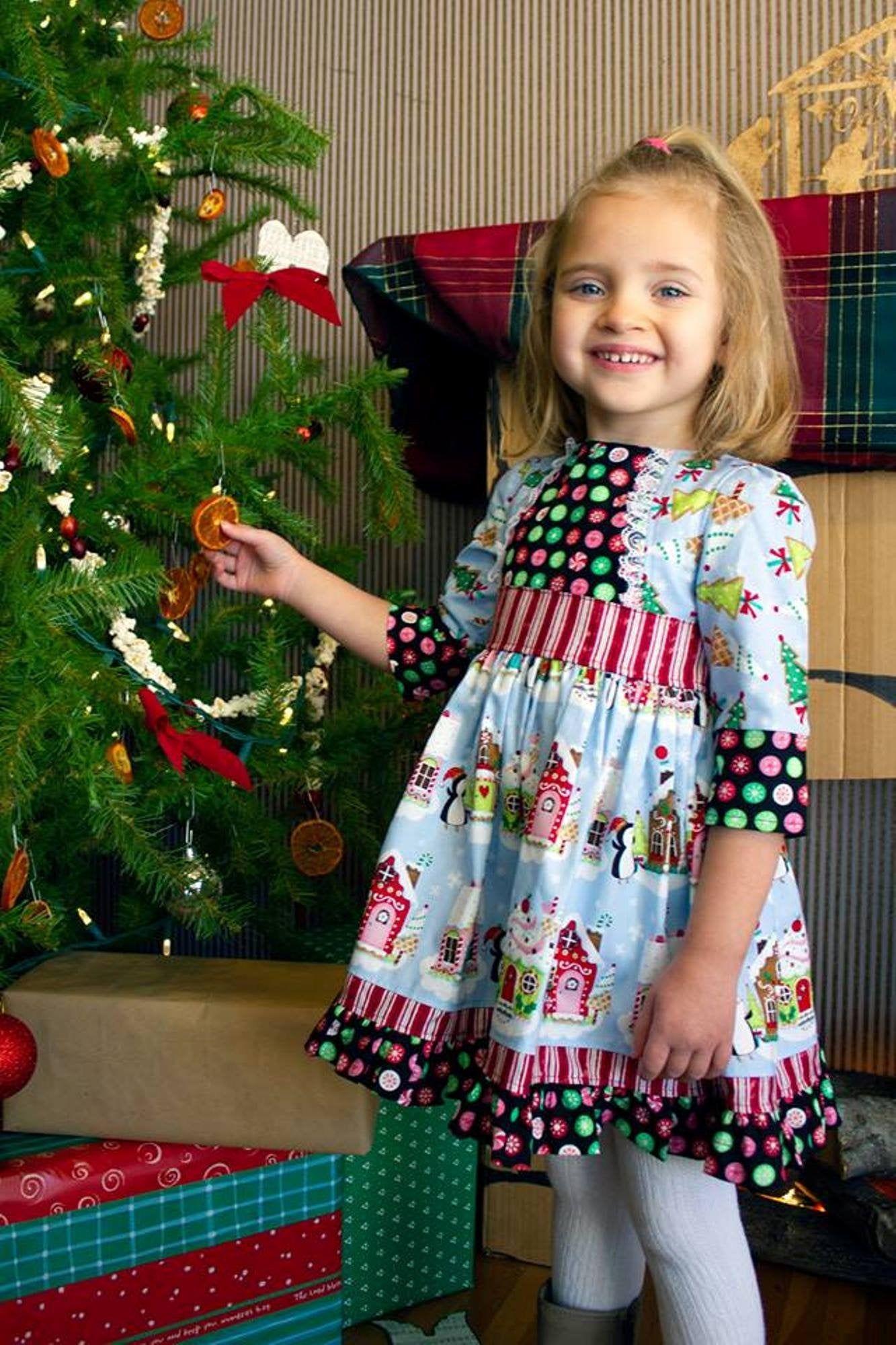 Girl/'s Polka Dot Santa Christmas Dress Ruffled Bow Boutique Outfit Clothing