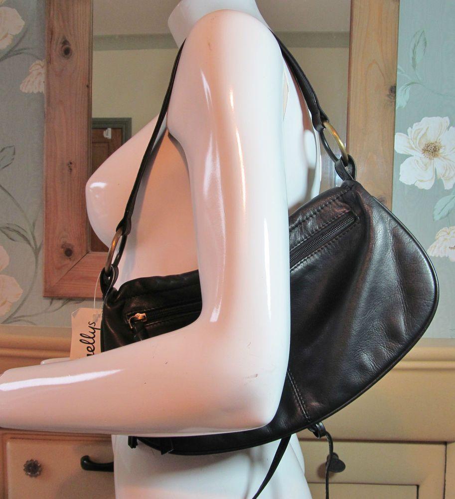 Shellys London black quality leather over shoulder bag handbag purse R13297