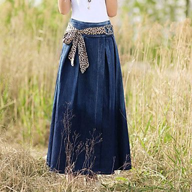 Spring Autumn Simple and generous fashion leopard belt Side zipper Personalized long denim skirts