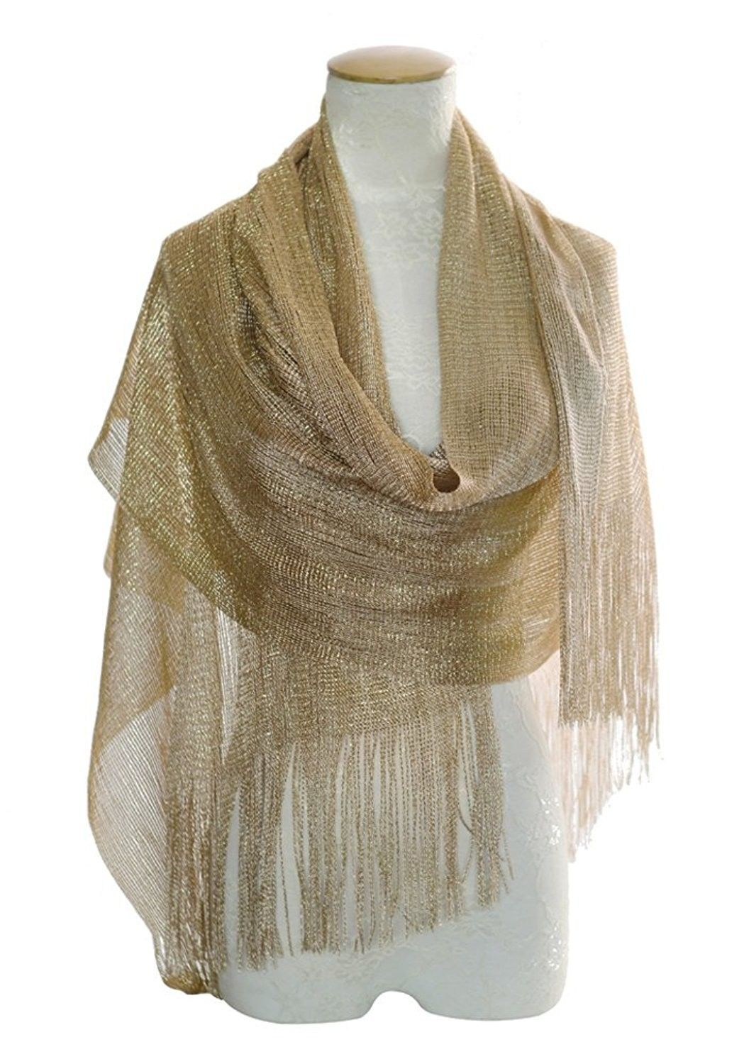 Wedding Evening Glitter Metallic 1 Metallic Champagne Gold Ca12n45vi5z Evening Scarf Shawls And Wraps Evening Wraps