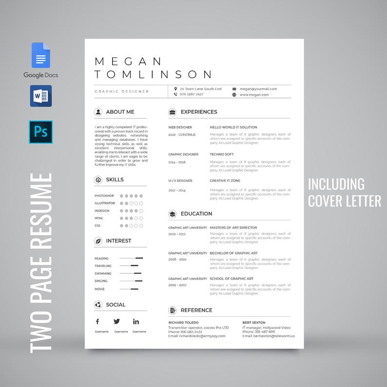Professional resume template, resume template google docs