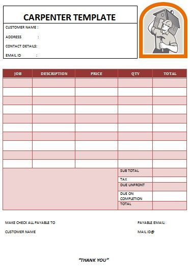 CARPENTER INVOICE TEMPLATE-15 Carpenter Invoice Templates