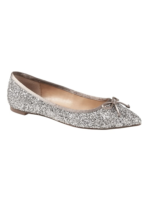 Banana Republic Womens Pointed Toe Robin Glitter Ballet Flat