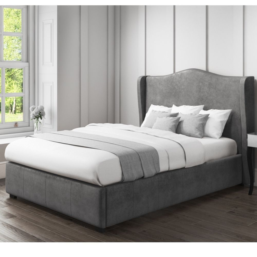 King Side Bed Grey Velvet Colored Wing Back Headboard Bedroom Home