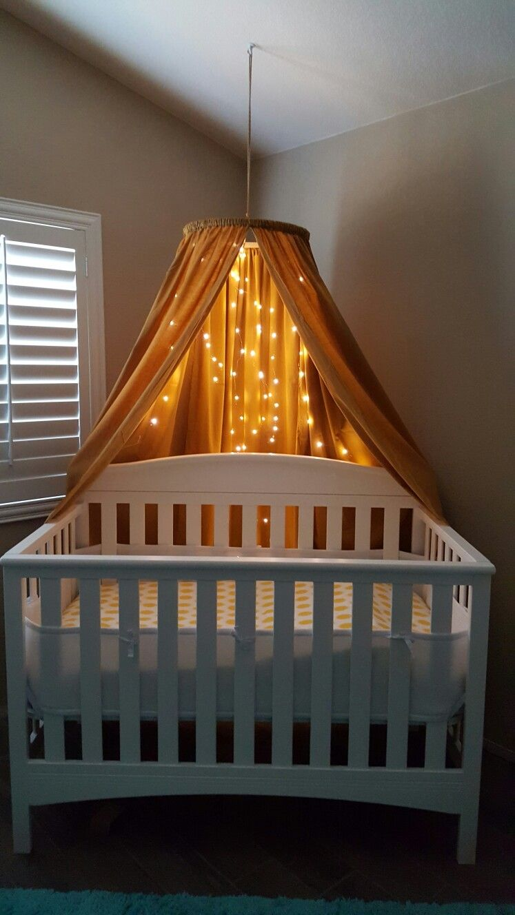 Diy crib canopy w mini led lights on a timer diy crib