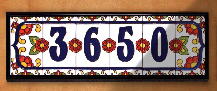 Mexican House Number Talavera Tile Home Address Tile Flowers # 5