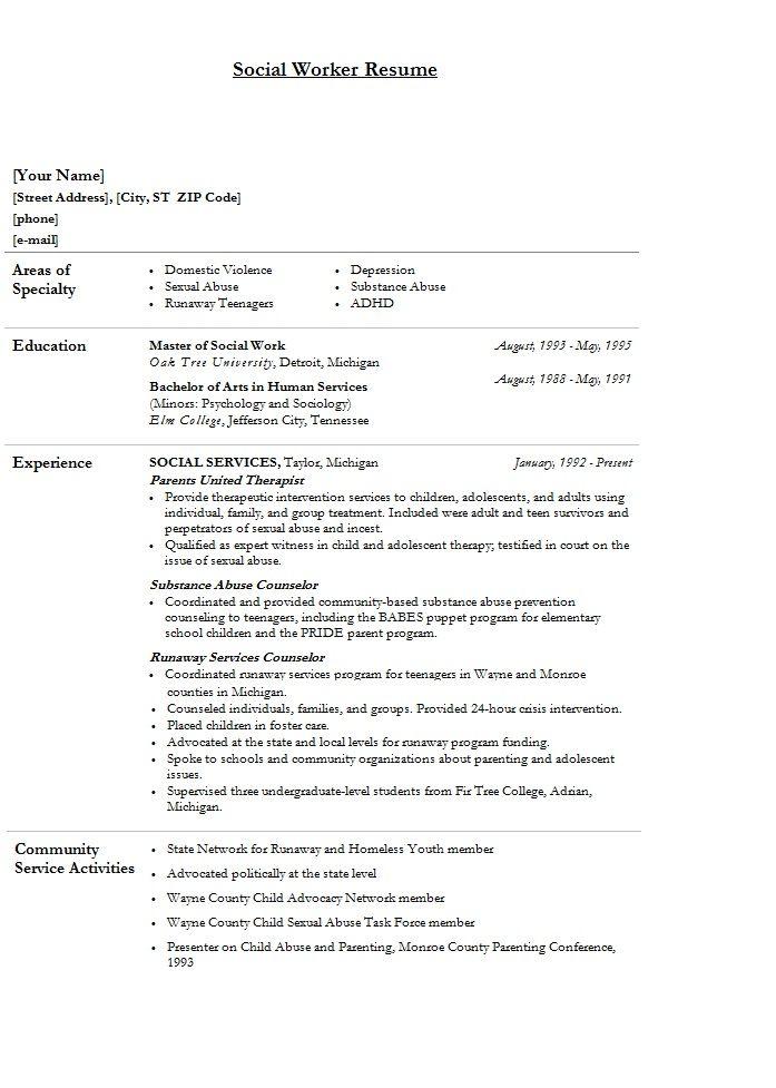 modern cv template social worker