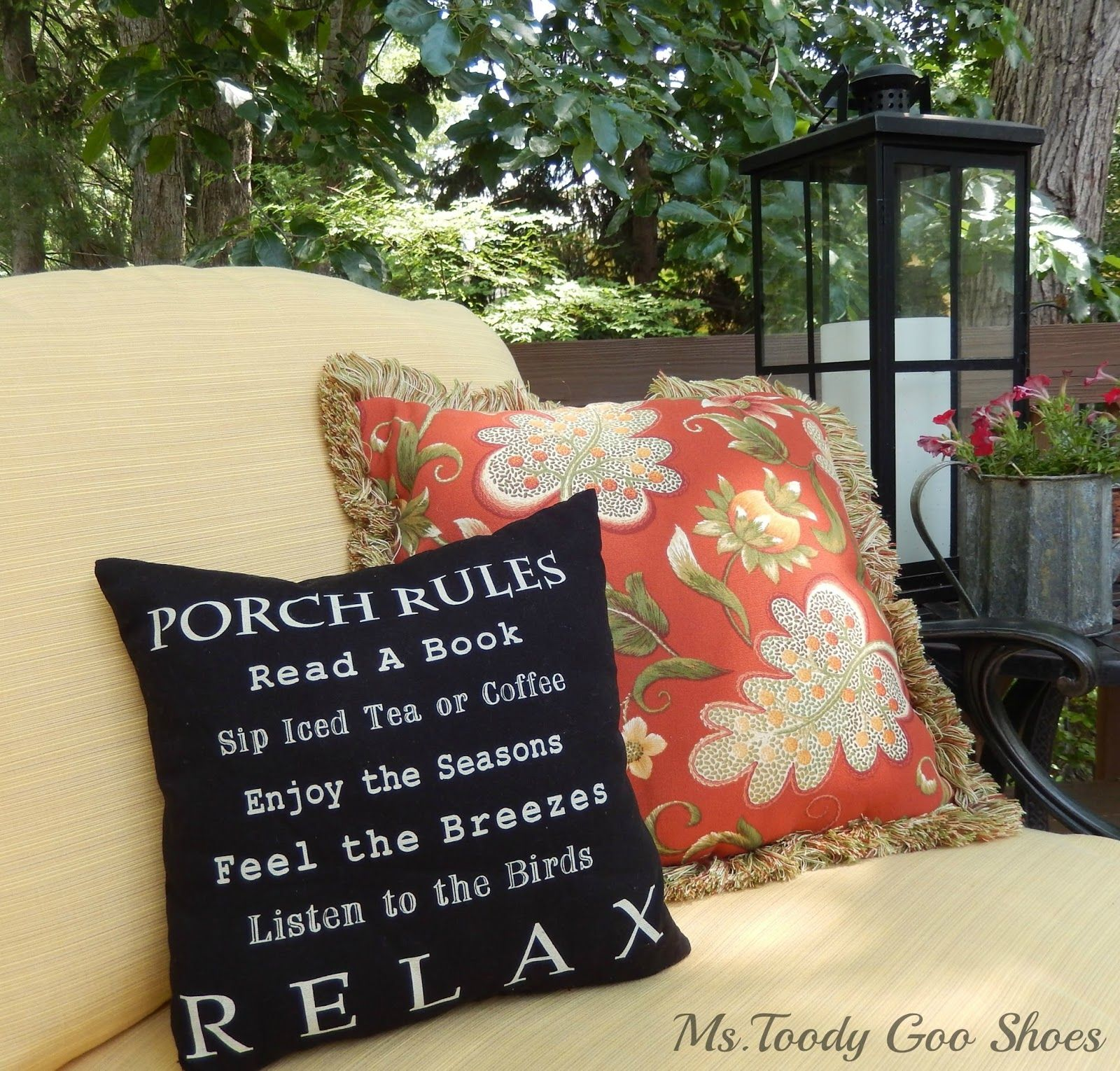 Summer backyard deck ms toody goo shoes porch rules pillow at