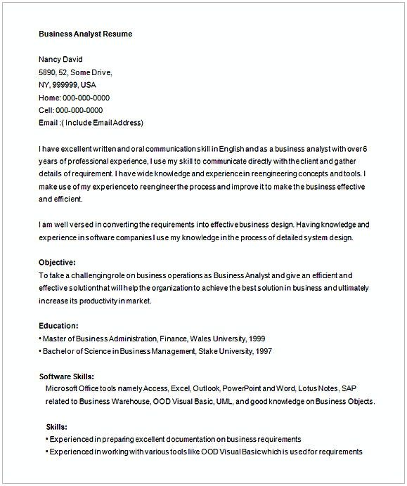 Free Business Analyist Resume Template   Entry Level Business