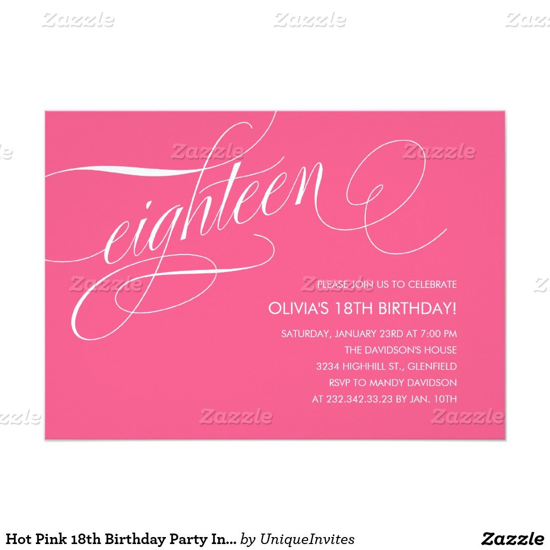 Hot Pink 18th Birthday Party Invitations | 18th birthday party ...
