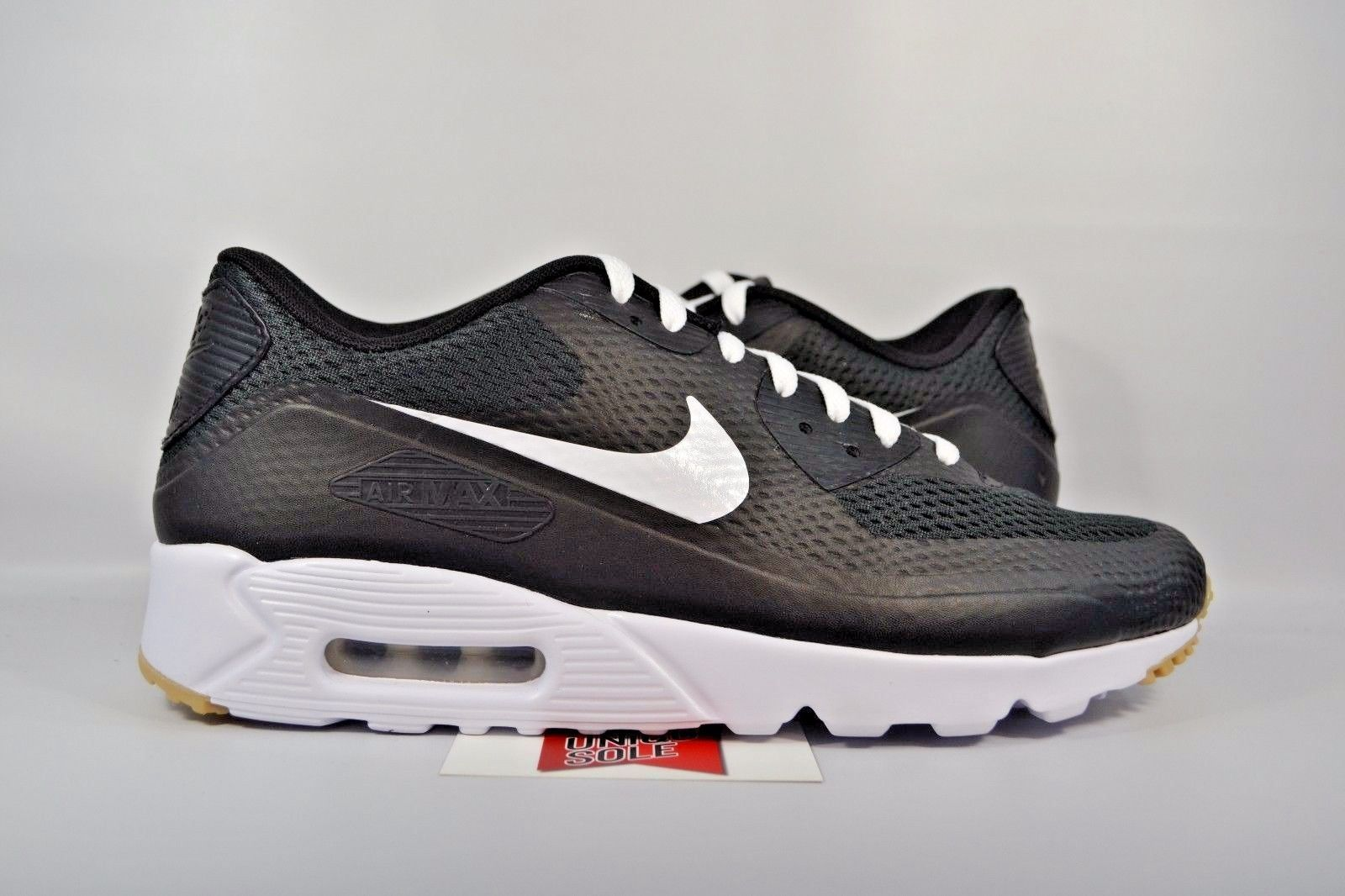 775b64a1ac9 NEW Nike Air Max 90 Ultra Essential BLACK WHITE GUM BOTTOM 819474-010 sz  10.5