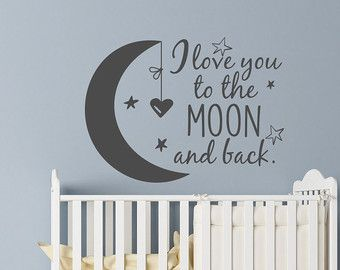 Nursery Wall Decal I Love You To The Moon And Back Stars Kids Children Decals Art 50