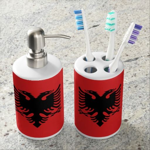 Albanian flag Bath Set