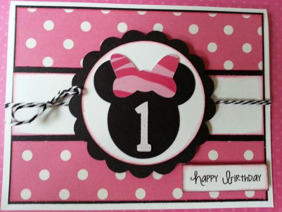 Handmade Minnie Mouse First Birthday Card By