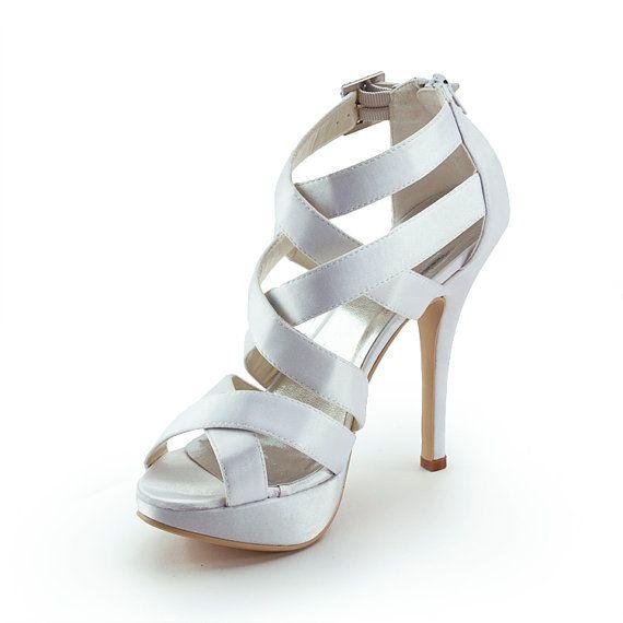 d820e931ca5 Fashion Cool Summer White Peep Toe Gladiator Platform Wedding Shoes Satin  High Heel Wedding Bridal Party Women Sandals