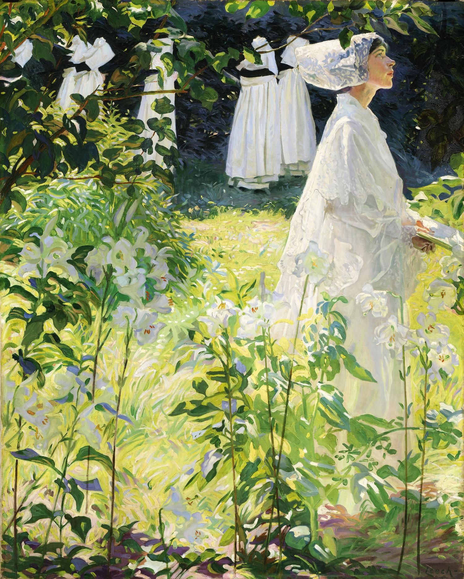 "William John Leech 1881-1968 ""A convent garden .Brittany "" ( Concarneau) ca 1913 hst 132x103"