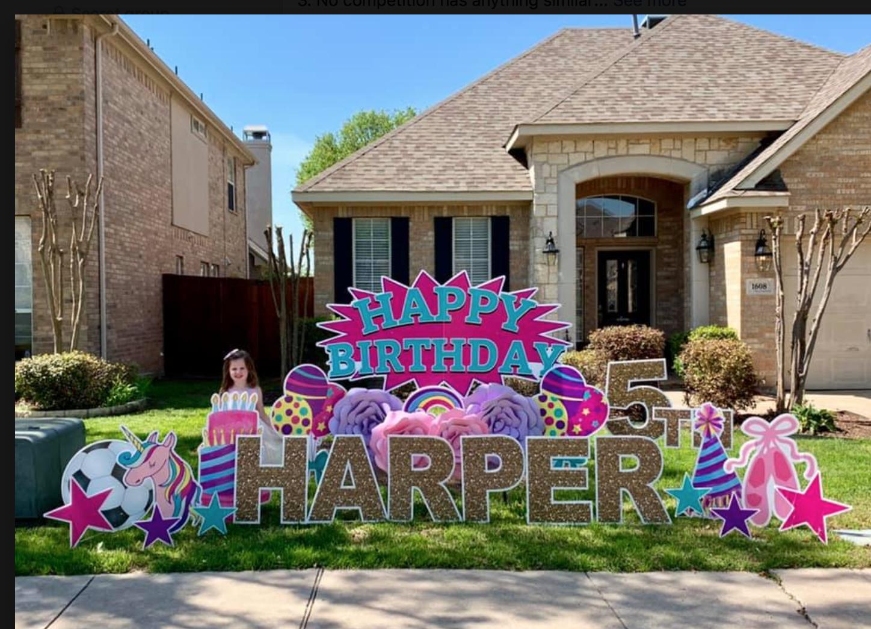 Pink Teal Starburst Birthday Yard Signs Birthday Lawn Signs Yard Cards