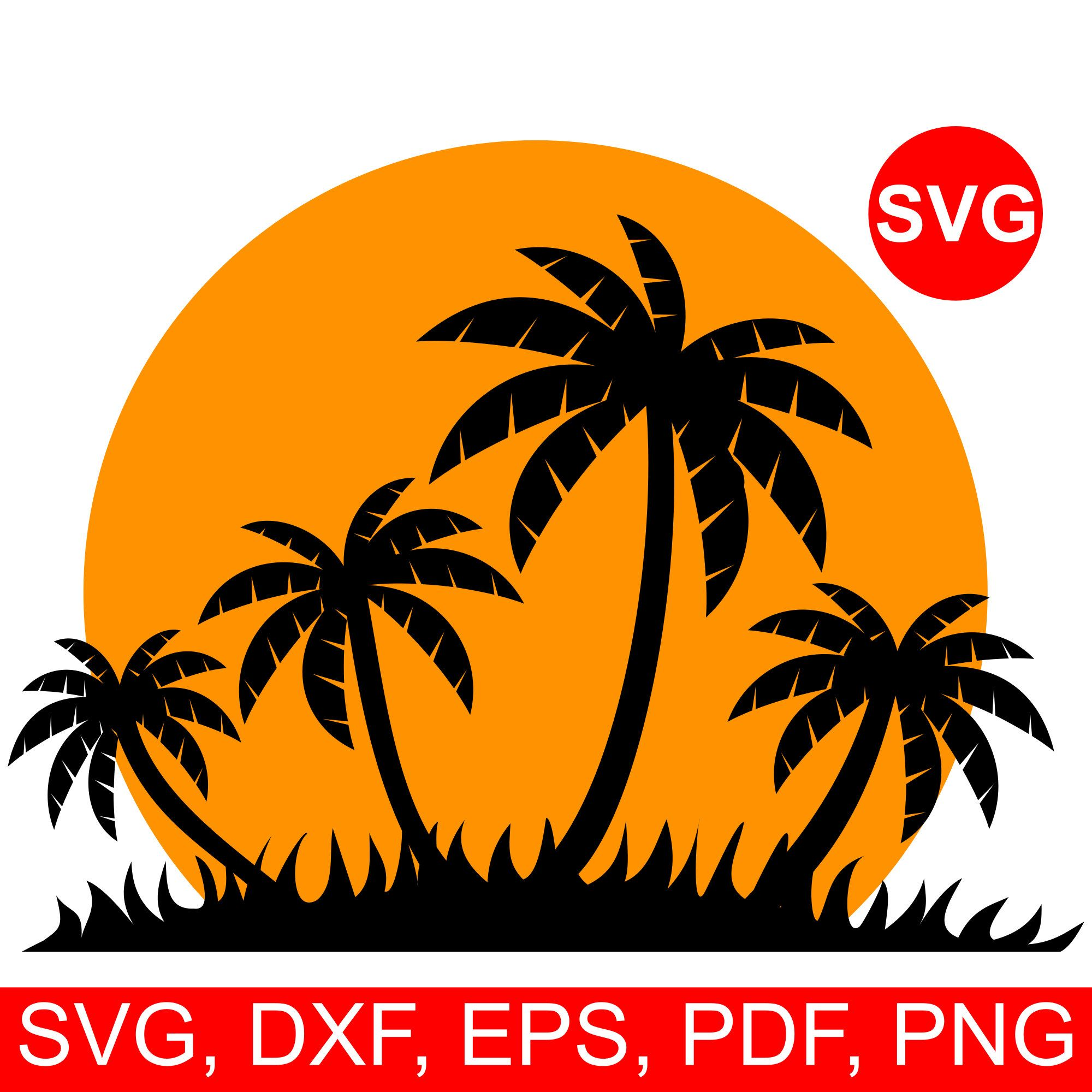 Tropical Sunset SVG File for Cricut & Silhouette, paradise
