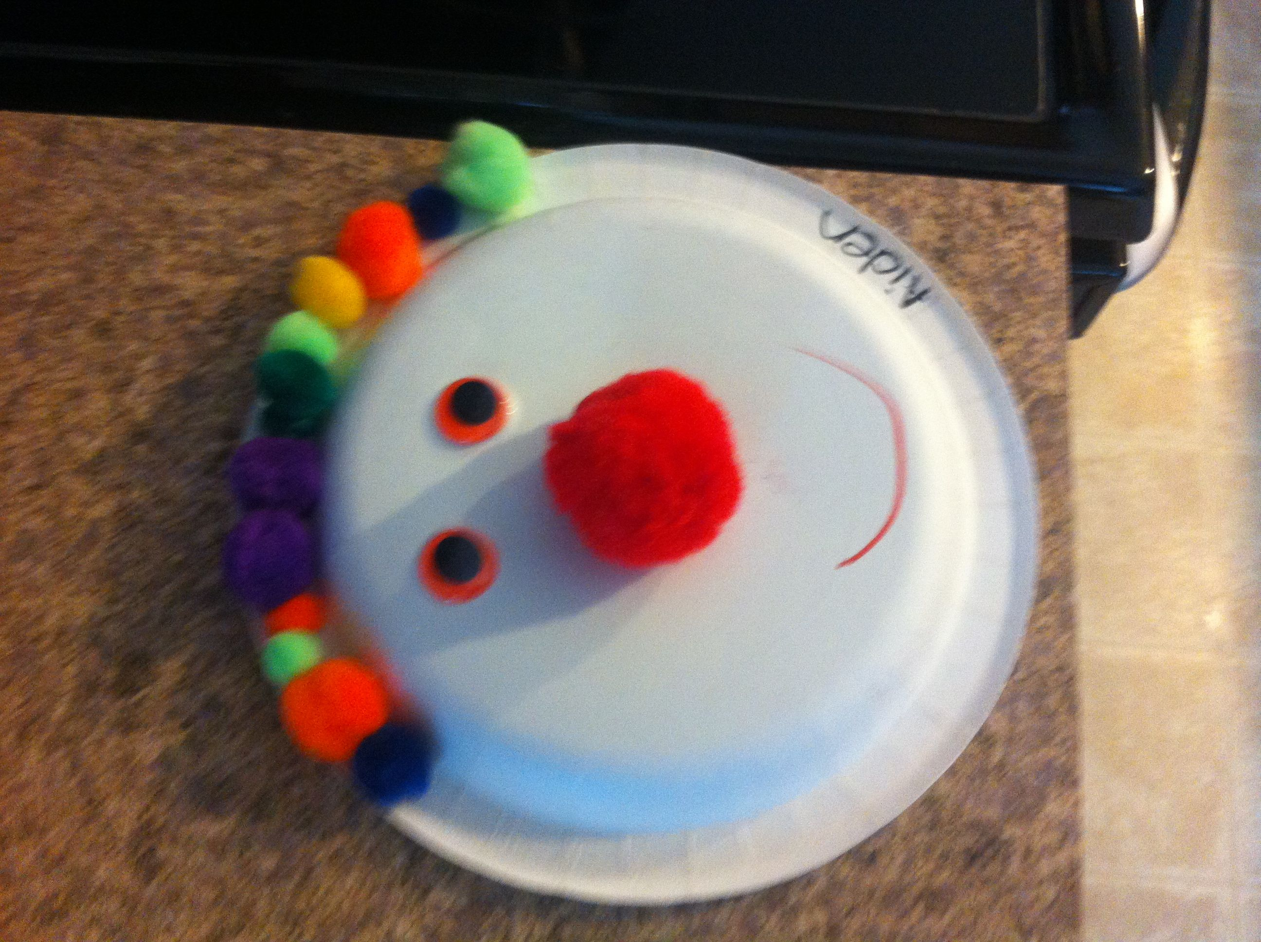 Circus week clown paper plate crafts with Pom Poms and google eyes ! & Circus week clown paper plate crafts with Pom Poms and google eyes ...