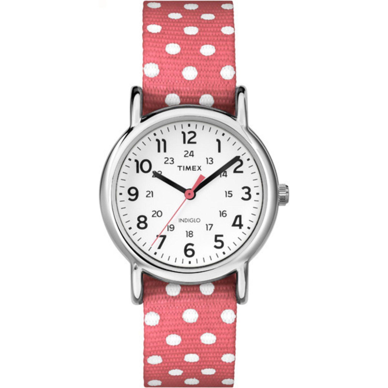 Timex TW2P65600 Womens Weekender Red Polka Dot Fabric Watch TW2P656009J