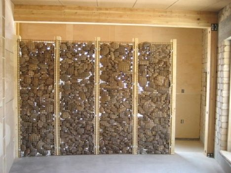 Diy Trombe Wall Made From River Rock And Wire | Four Corners, Rock