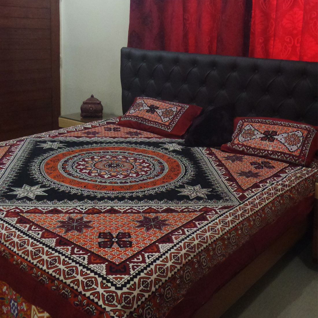 Handmade bed sheets design - Aman Jee Sindhi Cultural Ajrak Design Bed Sheet Now Available Www Pehnlo