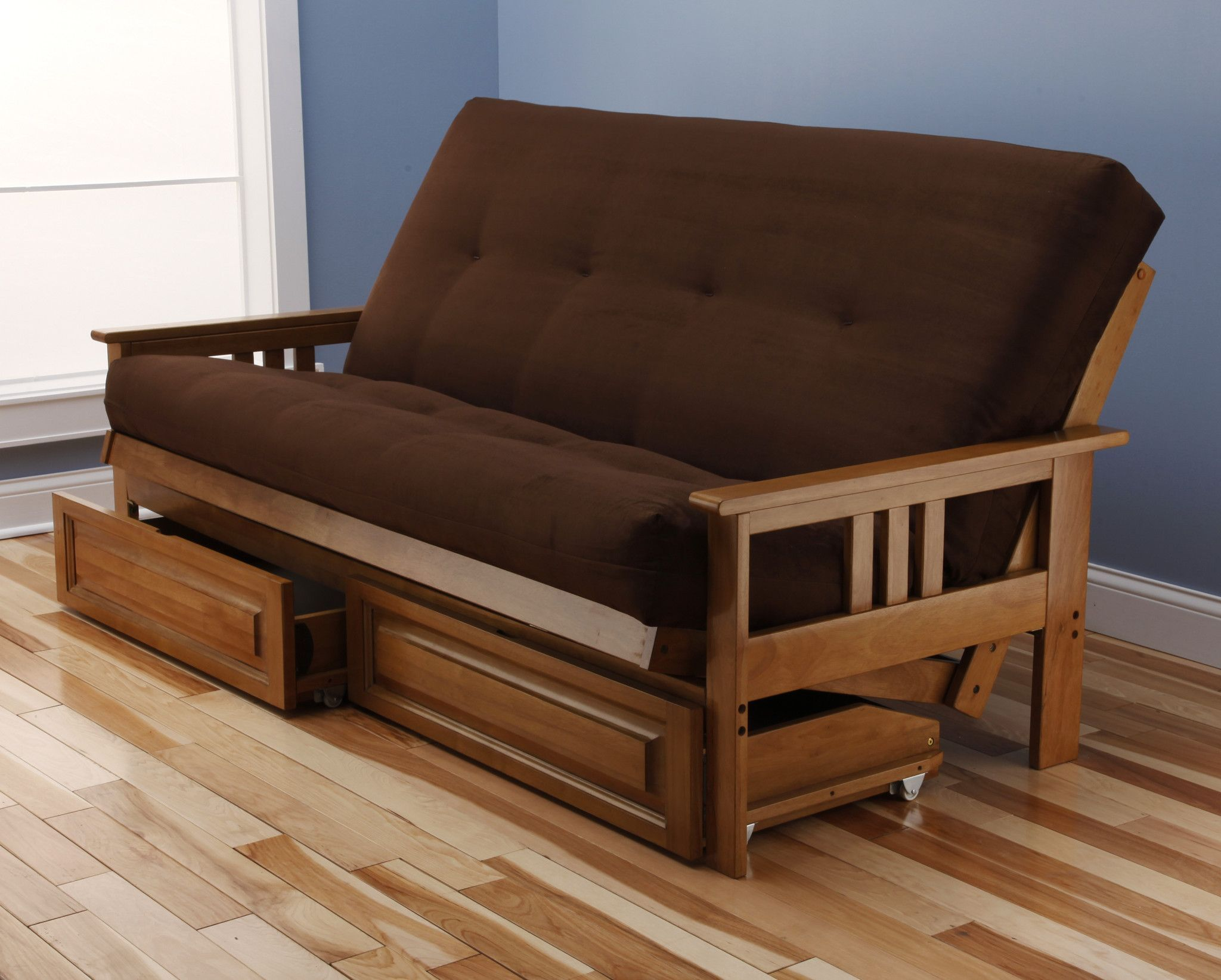 andover futon frame and drawer set in light honey oak wood suede innerspring mattress - Wood Frame Futon With Mattress