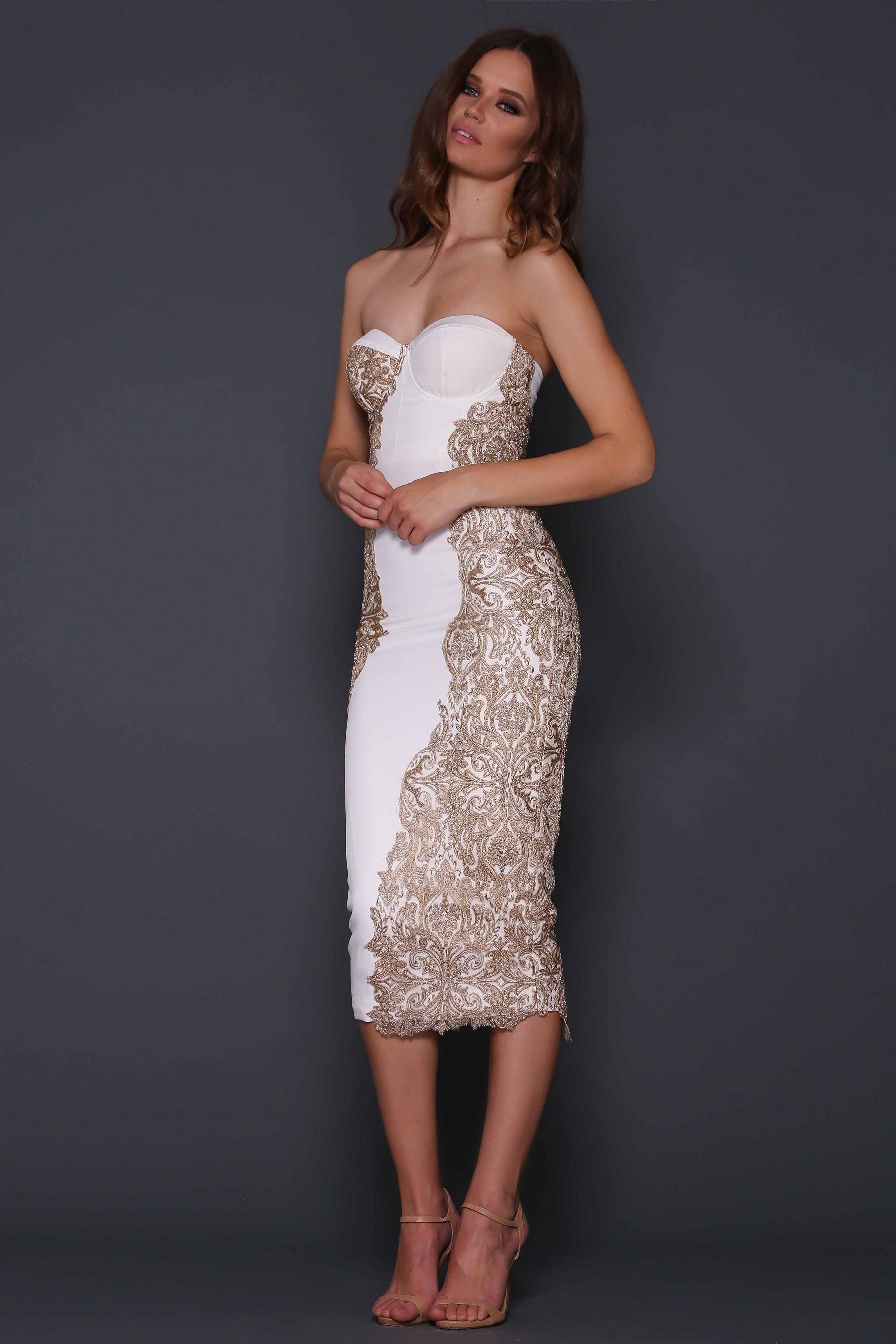 Martina white/gold   Gold cocktail dress, White gold and Gold lace