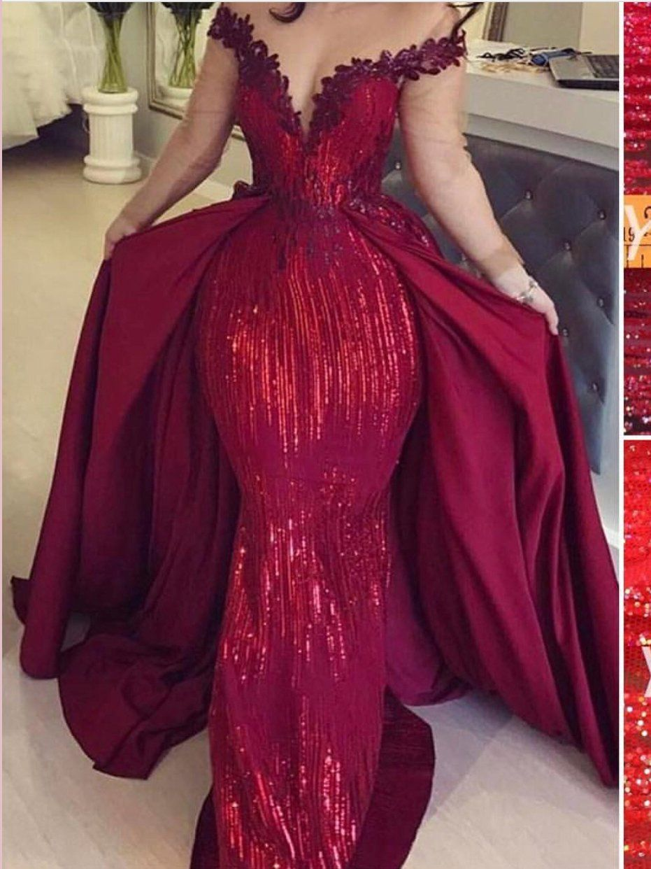 Chic Trumpet Mermaid Off The Shoulder Sparkly Prom Dresses Tulle Long Evening Dress Amy2503 Long Sleeve Evening Gowns Sparkly Prom Dresses Burgundy Prom Dress [ 1242 x 931 Pixel ]