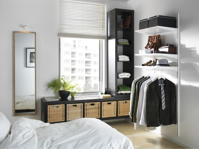 ALGOT wall shelves and rods make organization easy and require